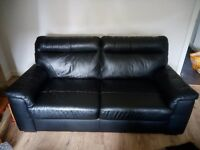 Sofa - 2/3 seater, black, leather effect, excellent condition, smoke and pet free home. £40
