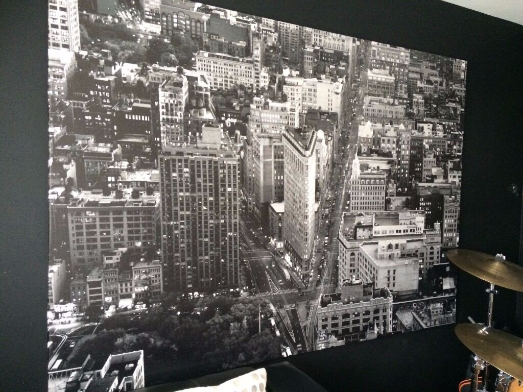 New york flatiron large wall hanging canvas picture black for Ikea new york city