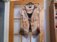 brown top with a camisole size 12
