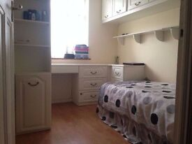 Neat and clean single room with fitted wardrobes in family house