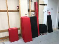 Shop shelving approx 7 bays red and black