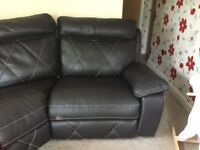 Faux leather corner sofa both end recline for swaps or offers