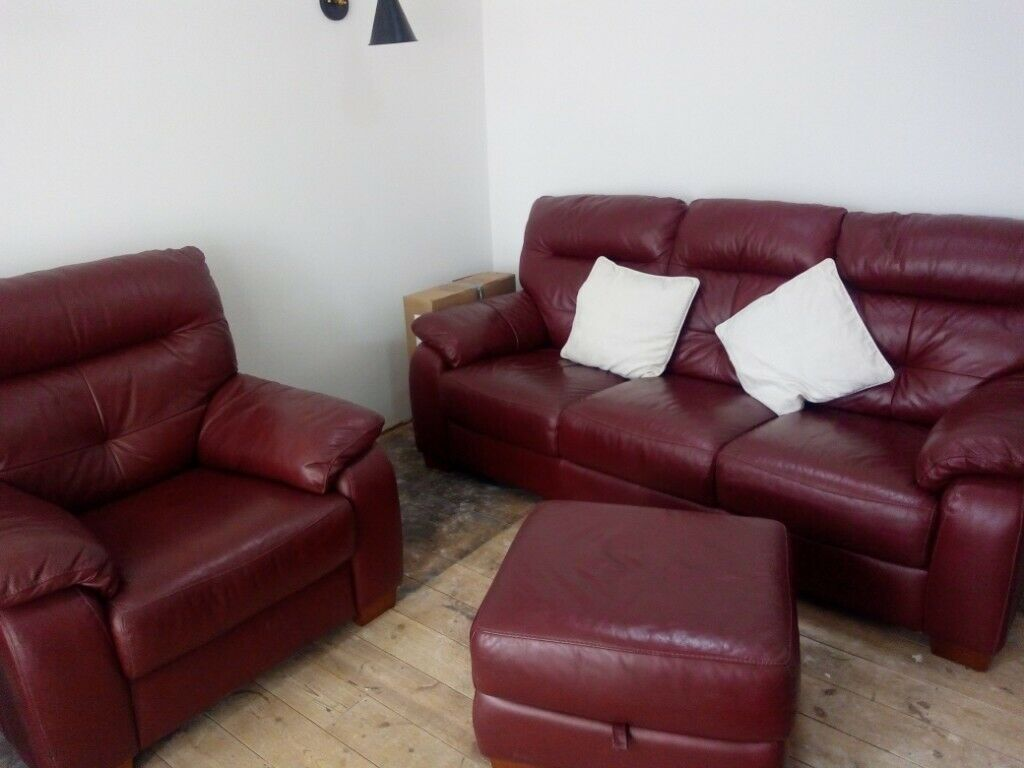 Awe Inspiring Dark Red Leather Sofa Chair And Footstool In Rushden Northamptonshire Gumtree Creativecarmelina Interior Chair Design Creativecarmelinacom