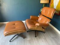 Retro Swivel Chair With Ottoman - Mid Century Style