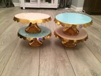 Set of 4 Cake Stands - Gold Blue and Pink