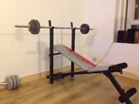 York fold-able weights bench with weights