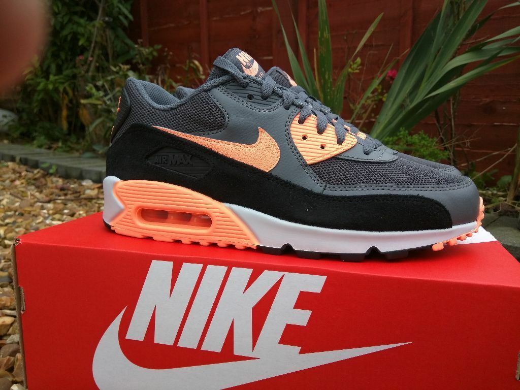 ... ebay nike air max 90 essential sunset glow drkgrey size uk 8 100  authentic neon bc8e4 56c4556e11