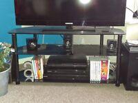 Black glass triple-tier corner TV stand