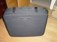 Large Antler suitcase black woven fabric with wheels -as new condition