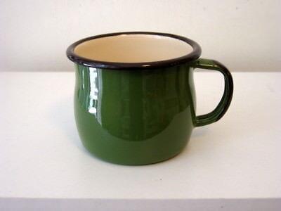 2x Becher Trinkbecher Tasse Kaffeebecher Emaille 0,28 l grün Email a. Polen neu