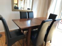 Solid Wood Table and 6 Leather-effect Chairs