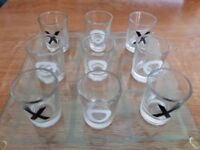 Nought and crosses shot glass set