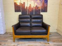 Contemporary Brown Leather 2 Seater Sofa