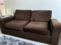 Next 2 Next 2 Brown Seater Sofa Bed Chenille Sprung Mattress