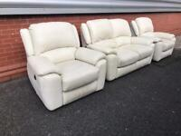 Sofology Ivory leather power recliner sofa set can deliver local 🚛👍🏻😁