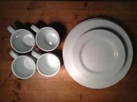 Plates and mugs plain white
