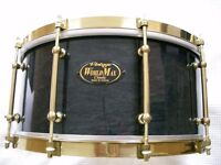 WorlMax Vintage Classic maple-ply snare drum - early model- Transparent Black