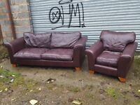 Nice used brown leather sofa suite. large 3 seater sofa and armchair.can deliver