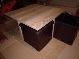 Space saving coffee table with 4 storage stools