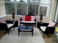 Conservatory Furniture. Sofa, 2 Chairs, Coffee Table, 2 Side Tables, 2 Lamps, Dining Table, 4 Chairs