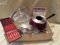 Vintage Red Fondue Set Spring Switzerland Gourmet Line Les Fondues - NEW