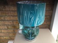 DIMPLE GLASS BLOWN TABLE LAMP WITH MATCHING SHADE