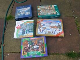 5 1000 PIECE XMAS JIGSAWS ALL COMPLETE £10 THE LOT CAN DELIVER