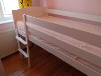 Mothercare Raised 2ft 6in (mid-sleeper) Pine Bed, White