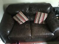 3 & 2 seater brown leather
