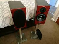 Pair of Mordaunt Short MS202 Standmount Speakers And Stands