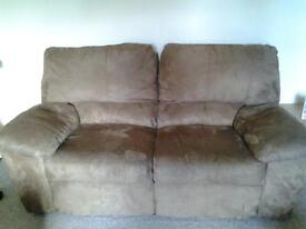 Brown reclining fabric sofa 2 seater