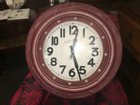 Lovely Brand New Extra Large Deep Case Ridge Porthole Wall Clock - Burgundy