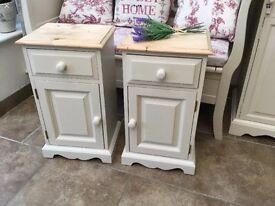 Pair of Country Farmhouse Style Bedside Cabinets