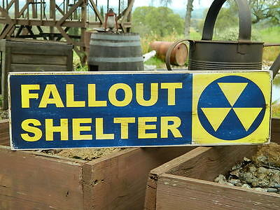 Distressed Primitive Halloween Country Wood Sign - Fallout Shelter  5.5