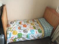 Toddler Bed c/w with mattress, bedding and duvet.