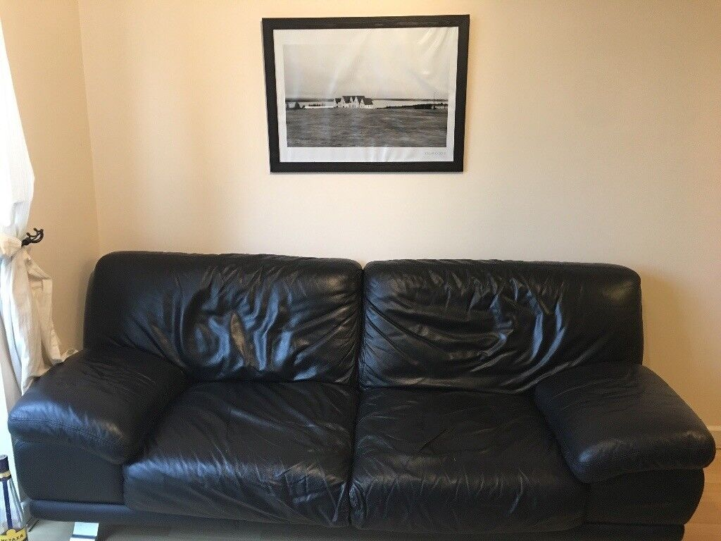 Black leather 3 seat sofa MAX DIVANI 210x80, made in Italy | in ...
