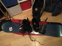 Mens all Mountain snoboard, boots, bindings and bags.