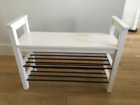 White Hemnes bench with 2 shoe racks from Ikea