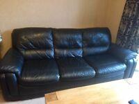 Black leather 3 piece suite