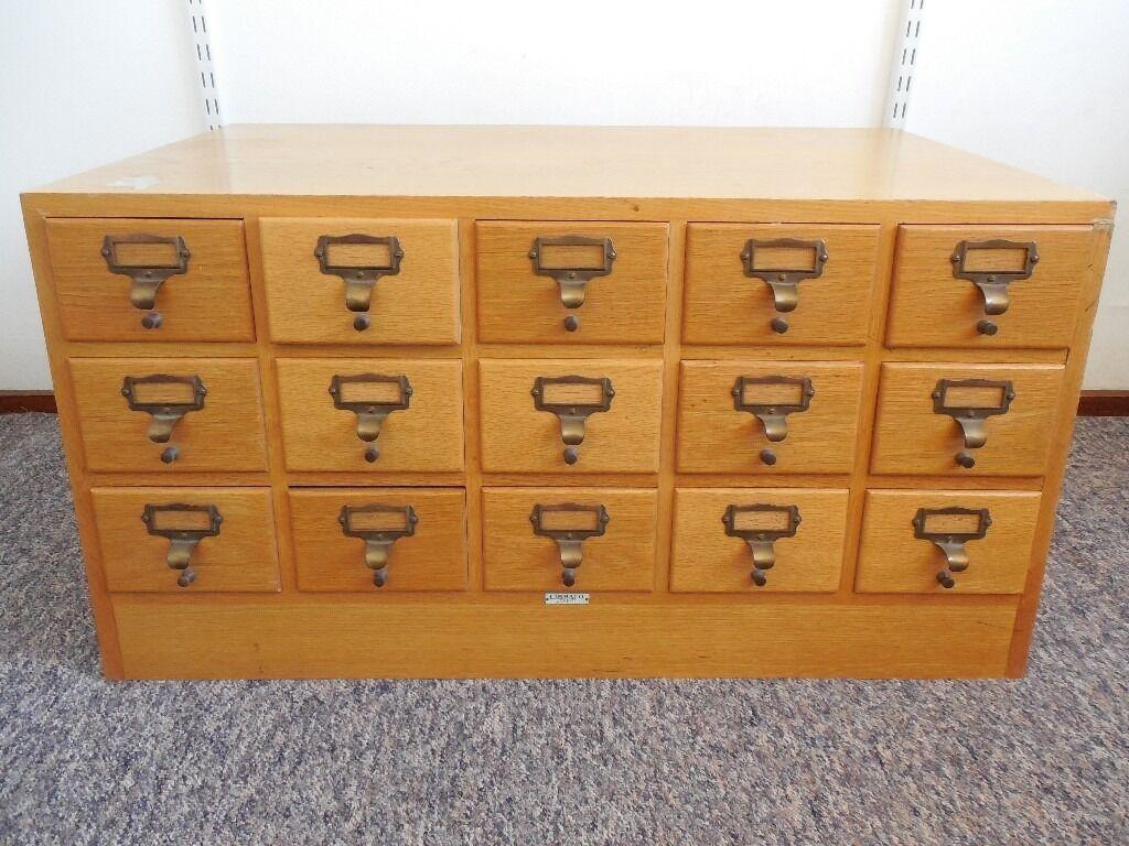 Vintage Oak Libraco London 15 Drawer Library Index Card