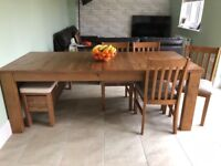 Dining room table, chairs and bench set
