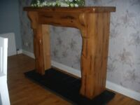 Solid Pine fireplace surround and slate hearth - never used cost over £600 accept £100for both