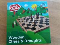 Brand new chad valley wooden chess and draughts