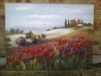 Poppy field canvas picture