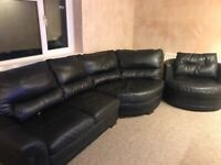 Dfs real leather black corner sofa and swivel chair