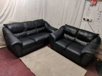 Black leather 3&2 seater sofas excellent condition