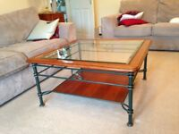 Coffee table in cherrywood &glass