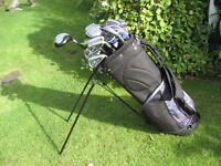 GOLF CLUBS IN BAG WITH STAND