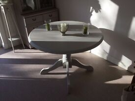 Fixed Top Round Pedestal Table - restored and painted in `Autentico`bath stone chalk paint