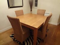 Solid oak square table & whicker chairs